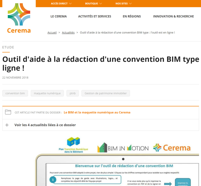 CEREMA Outil Convention BIM